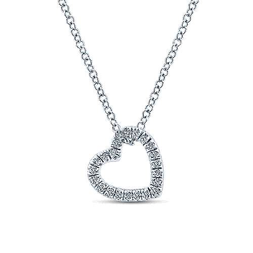 Gabriel - 14k White Gold Angled Open Heart Diamond Necklace