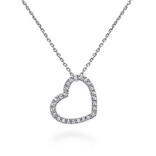 5b5964471a2 14k White Gold Angled Open Heart Diamond Necklace