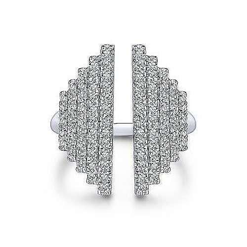 14k White Gold Art Deco Fashion Ladies' Ring angle 1