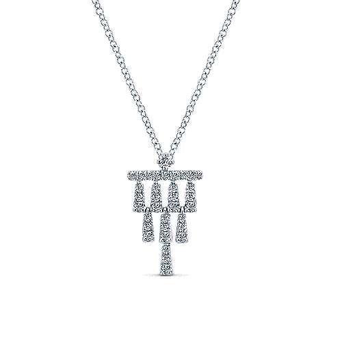 Gabriel - 14k White Gold Art Deco Fashion Necklace