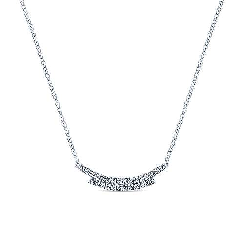 Gabriel - 14k White Gold Art Moderne Bar Necklace