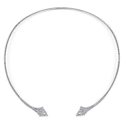 14k White Gold Art Moderne Choker Necklace angle 2