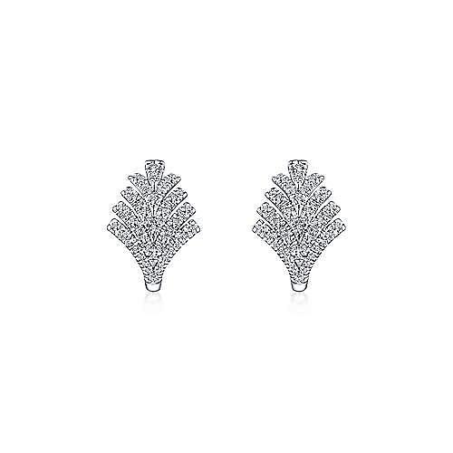 14k White Gold Art Moderne Classic Hoop Earrings angle 3