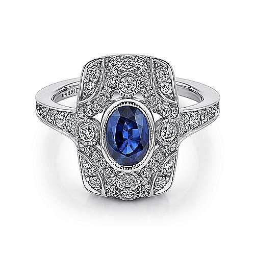 Gabriel - 14k White Gold Art Moderne Fashion Ladies' Ring