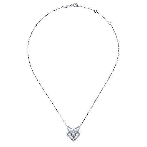 14k White Gold Art Moderne Fashion Necklace angle 2