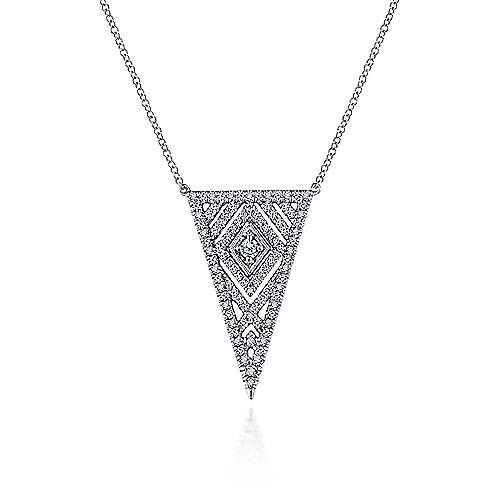 14k White Gold Art Moderne Fashion Necklace angle 1