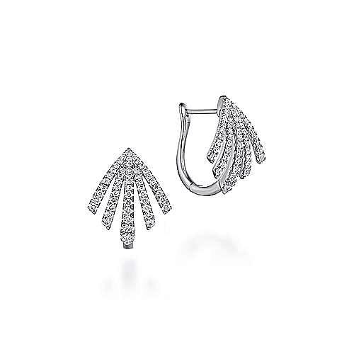 14k White Gold Art Moderne Huggie Earrings angle 1
