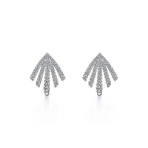14k White Gold Art Moderne Huggie Earrings angle 3