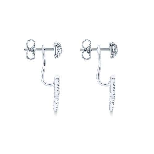 14k White Gold Art Moderne Peek A Boo Earrings angle 3