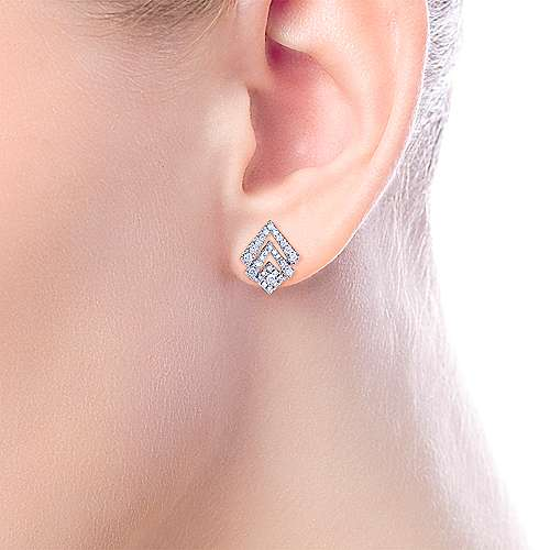 14k White Gold Art Moderne Stud Earrings angle 2
