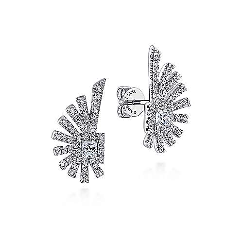 14k White Gold Art Moderne Stud Earrings angle 1
