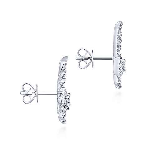 14k White Gold Art Moderne Stud Earrings angle 3