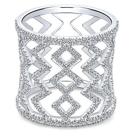Gabriel - 14k White Gold Art Moderne Wide Band Ladies' Ring