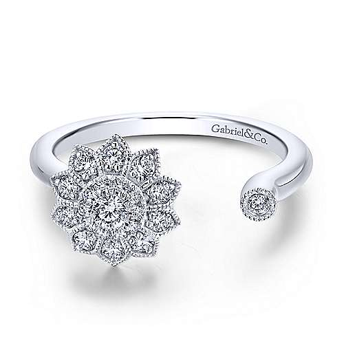 14k White Gold Asymmetrical Floral Diamond Fashion Ring