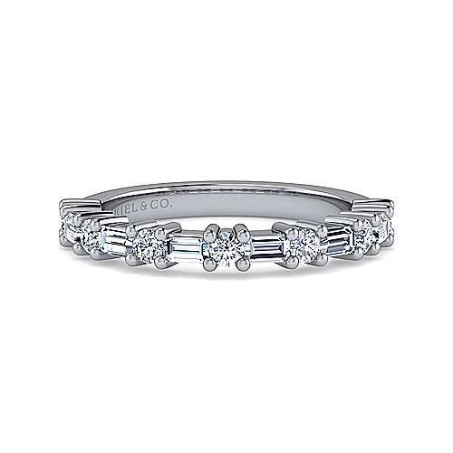 14k White Gold Baguette and Round 13 Stone Diamond Anniversary Band angle 1