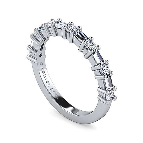 14k White Gold Baguette and Round 13 Stone Diamond Anniversary Band angle 3