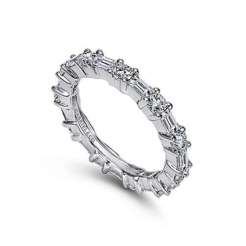 14k White Gold Baguette and Round Prong Set Eternity Band