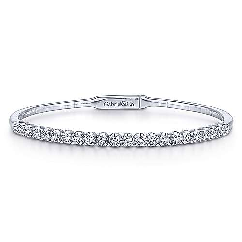 14k White Gold Beaded Diamond Bangle