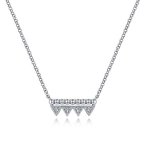 14k White Gold Beaded Diamond Triangle Bar Necklace