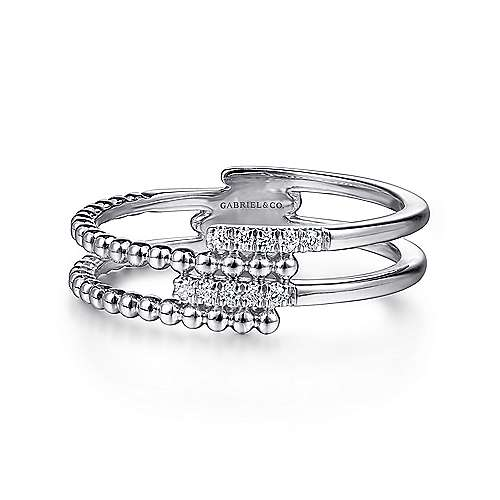 14k White Gold Beaded Fashion Diamond Ladies' Ring