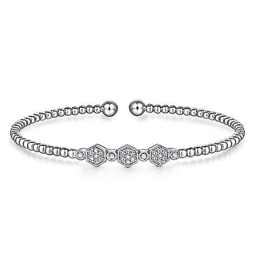 Gabriel - 14k White Gold Beaded Open Hexagonal Diamond Cluster Bangle Bracelet