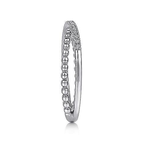 14k White Gold Beaded Pave Diamond Fashion Ladies Ring