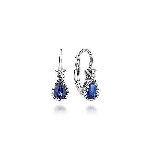 14k White Gold Beaded Pear Shaped Sapphire & Diamond Drop Earrings