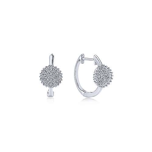 14k White Gold Beaded Round Diamond Cluster Huggie Earrings