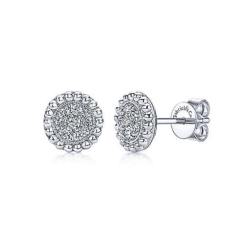 14k White Gold Beaded Round Diamond Cluster Stud Earrings