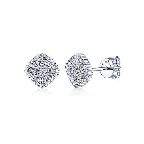 Gabriel - 14k White Gold Beaded Square Diamond Cluster Stud Earrings