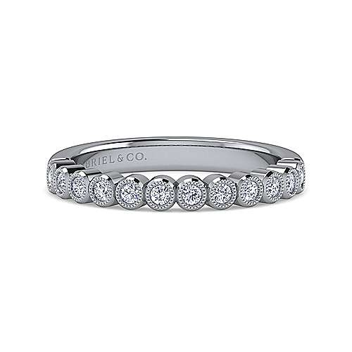 14k White Gold Bezel Set Round 12 Stone Diamond Anniversary Band angle 1