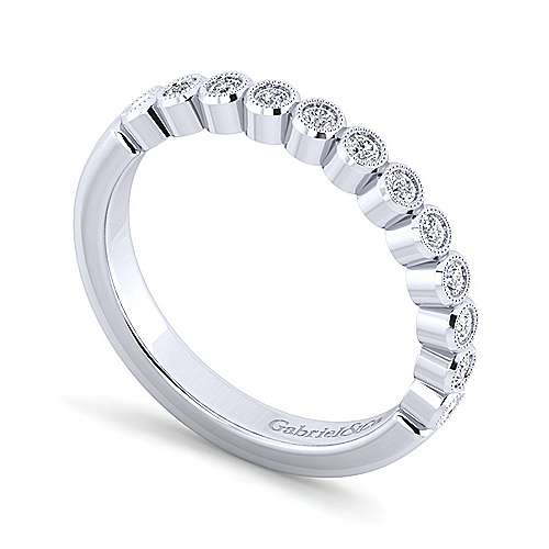 14k White Gold Bezel Set Round 12 Stone Diamond Anniversary Band angle 3