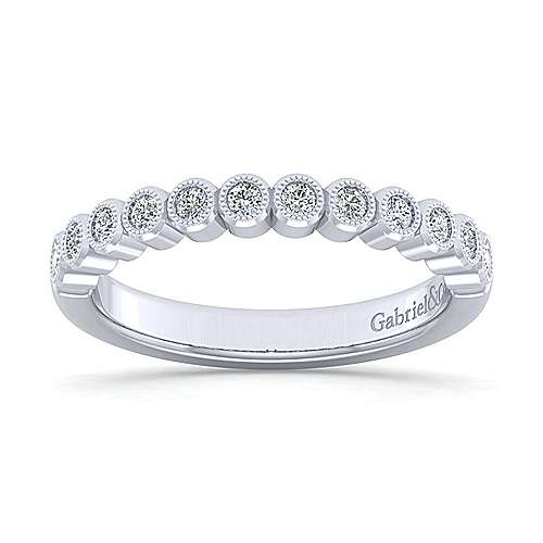 14k White Gold Bezel Set Round 12 Stone Diamond Anniversary Band angle 5
