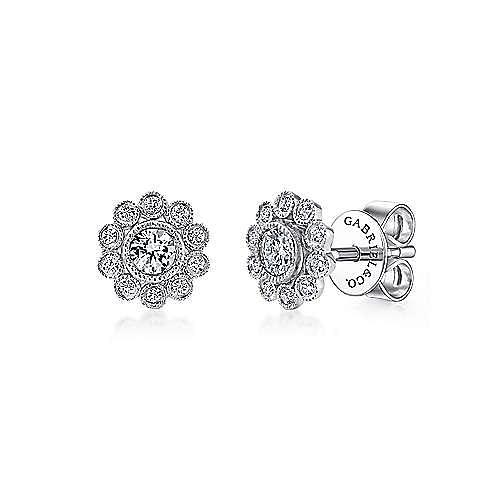 14k White Gold Bezel Set Round Diamond Flower Stud Earrings