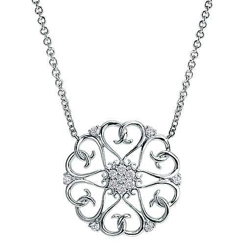 14k White Gold Blossoming Heart Fashion Necklace angle 1