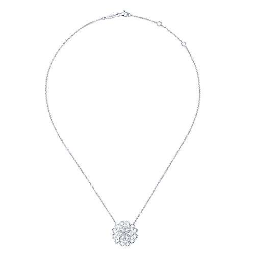 14k White Gold Blossoming Heart Fashion Necklace angle 2