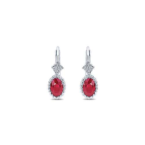 14k White Gold Bujukan Drop Earrings angle 1