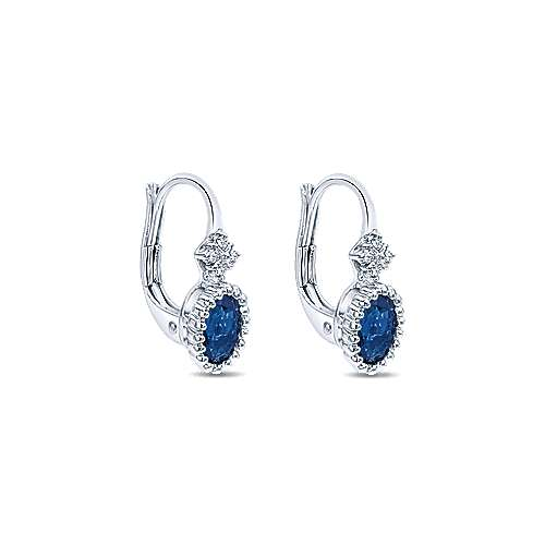 14k White Gold Bujukan Drop Earrings angle 2