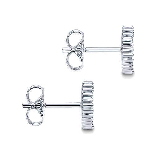 14k White Gold Bujukan Stud Earrings angle 3