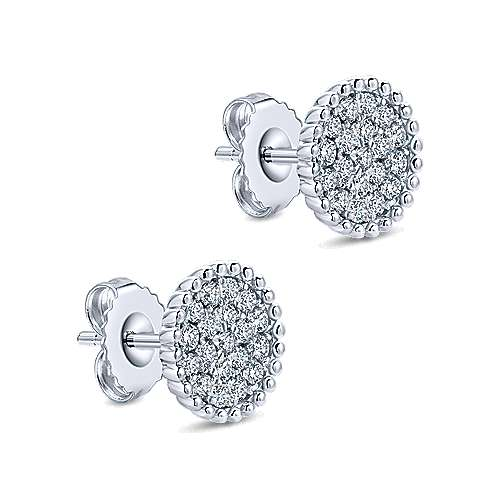14k White Gold Bujukan Stud Earrings angle 2
