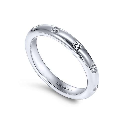 14k White Gold Burnished Set Diamond Eternity Band