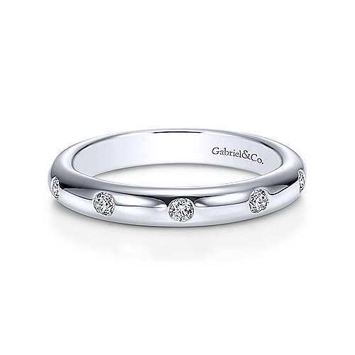 Gabriel - 14k White Gold Burnished Set Diamond Eternity Band