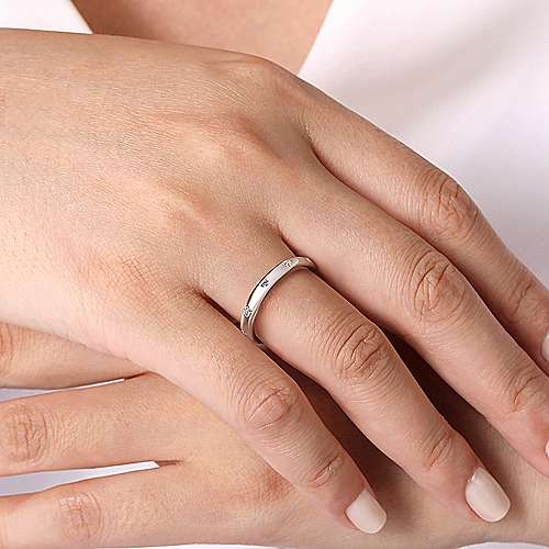 14k White Gold Burnished Set Round 5 Stone Diamond Anniversary Band angle 5