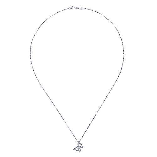 14k White Gold Butterfly Necklace angle 2