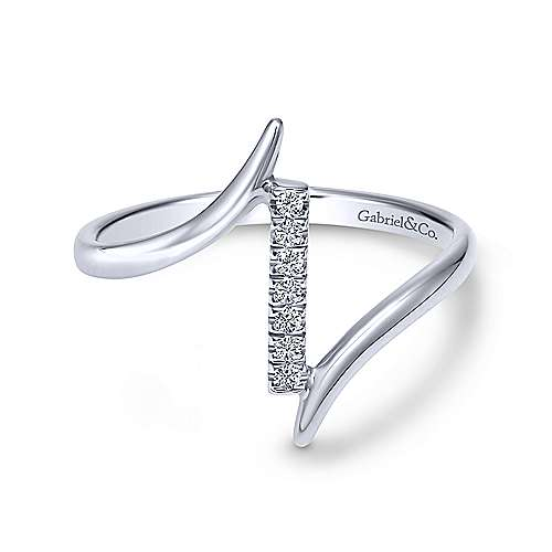 14k White Gold Bypass Diamond Column Midi Ring