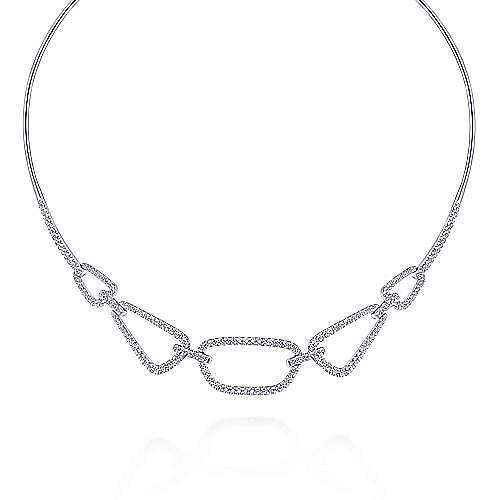 14k White Gold Cascade Choker Choker Necklace angle 1