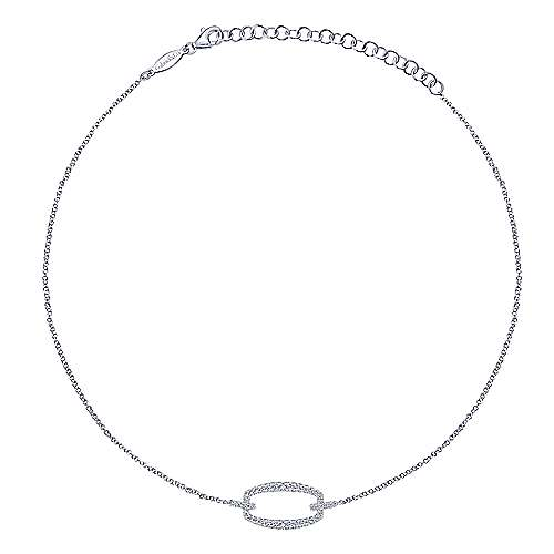 14k White Gold Cascade Choker Choker Necklace angle 2