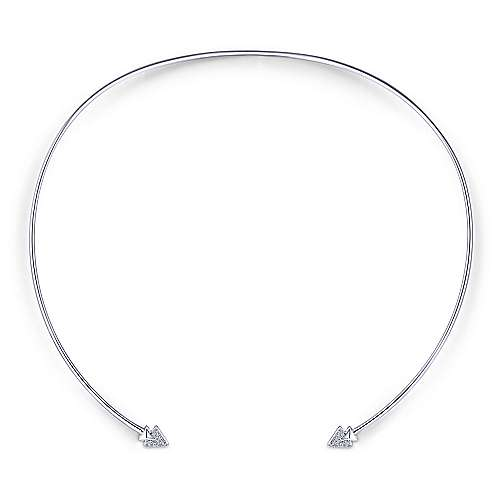 14k White Gold Cascade Choker Choker Necklace angle 2