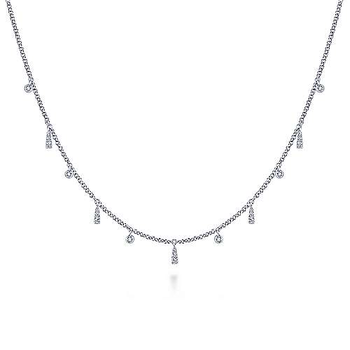 14k White Gold Cascade Choker Choker Necklace angle 1