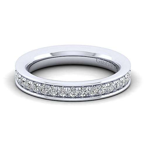 14k White Gold Channel Prong Set Anniversary Band